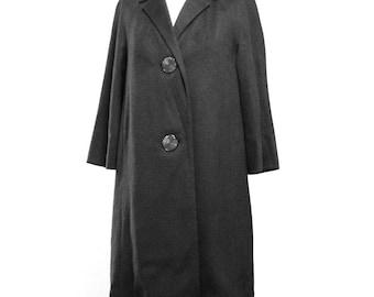 Black Wool Swing Coat Women's Medium Midi Mid Century 1950's Vintage Jacket Oversized Buttons Boiled Wool Dress Coat Formal Party Cocktail