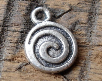 "Moroccan small tarnished metal spiral pendant 0.3"" or 1 cm"