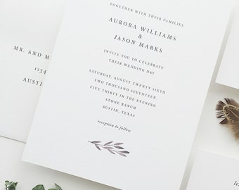 Watercolor Wedding Invitation Sample - Aurora | Letterpress Wedding Invitations | Wedding Invites