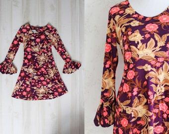 Vintage 60s Mod Dress, 1960s Bell Sleeve Dress, Psychedelic Floral Print, Mini Dress