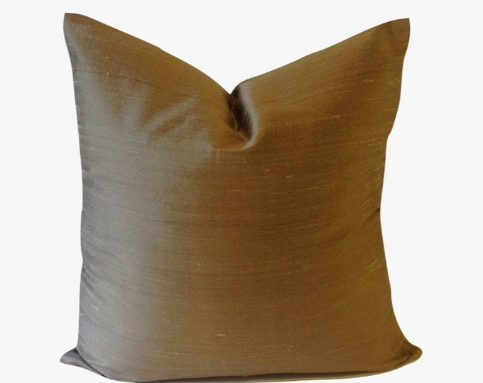 Sandy Taupe Silk Dupioni Decorative Pillow Cover -5 COLOR CHOICES - Invisible Zipper Closure- Knife Or Pipping Edge