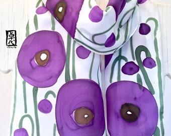Silk Scarf Handpainted, Purple Poppies Scarf, Spring Scarf, Purple Silk Scarf, Silk Scarves Takuyo, 8x54 inches. 100% Silk,