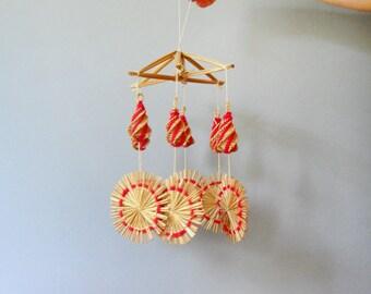 Vintage Scandinavian Style Straw / Yarn Mobile