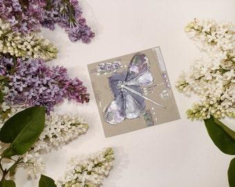 Amethyst purple dragonfly - Blank art greeting card - handmade greeting card - silver, mint green, purple - unique original artwork - OOAK