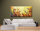 Poppies field flowers extra large impasto havy textured Palette knife ORIGINAL Modern Landscape 30x60 Fine Art oil Hand Painted by IraSher