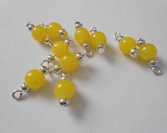 Yellow Glass Druk Dangle Beads