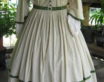 Civil War Calico  3 piece Day Dress Plus Size, Ready To Ship