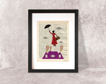Mary Poppins print-Mary Poppins dictionary print-Nursery print-Poppins on book page-fairy tale print-children wall art-NATURA PICTA-DP042