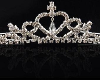 Crystal Silver and Diamonds Girls Headband Crown, Girls Princess crown, Rhinestone Crown, Princess Halloween Costume, Sofia the first crown,