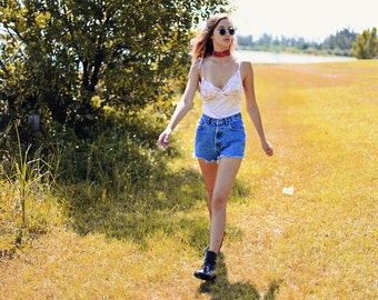 Vintage 90s High Waisted Shorts Denim Jean Cutoffs