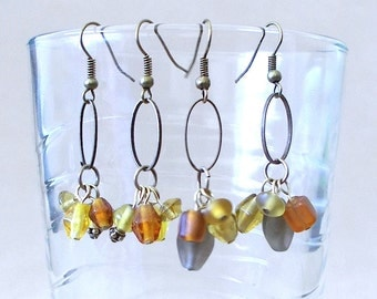 Multicolored Glass Bead & Bronze Hoop Dangle Earrings, Handmade Original Fashion Jewelry, Simple Elegant Modern Unique Earth Tones Gift Idea