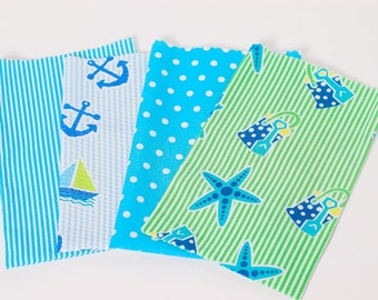 Nautical and Beach Party Favor Bag, Birthday Party Goodie Bag, Fabric Gift Sack, Product wrapping - Set of 6, Ocean Theme, Beach