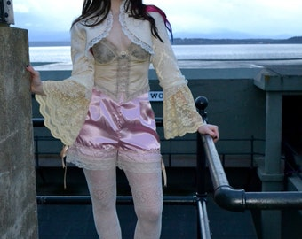 Rococo Jacket - Brocade and lace with pink satin bloomer set
