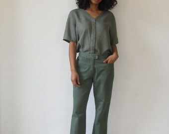 Vintage khaki pants Womens olive green slacks Straight leg pants