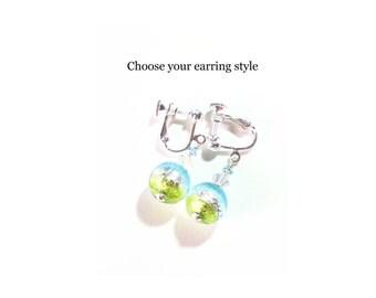Murano Glass Aqua Green Crystal Ball Silver Earrings, Italian Jewelry, Leverback Earrings, Venetian Glass Jewelry, Clip On Earirngs, Gifts