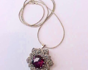 Beautiful and Versatile Necklace with Garnet Red Jewel with Marcasites Pendant/ Brooch