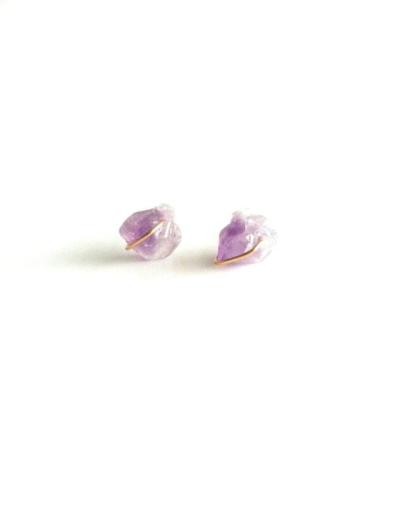 raw amethyst stud earrings raw stud earrings raw amethyst