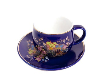 Vintage Cobalt Blue Teacup Saucer Rickshaw and Floral Design Gold Trim Made in Japan Hand Painted Porcelain