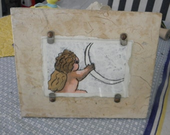 Winged Baby Angle holding a New Moon, Artist's Drawing on Parchment by Gina Palermo, Listed Artist