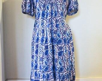 90s Indian Cotton Floral Print Dress