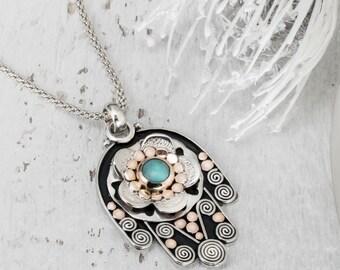 Turquoise Hamsa, Silver Hamsa, Hand of Fatima Charm, Judaica Art, Hamsa Necklace, Hamsa Hand Pendant, Evil Eye Pendant, Made to Order