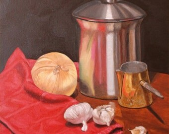 Still Life with Onion and Garlic