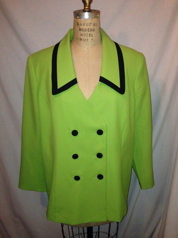 Vintage Bright Green Suit Jacket By BMI Studio Size 18 c15