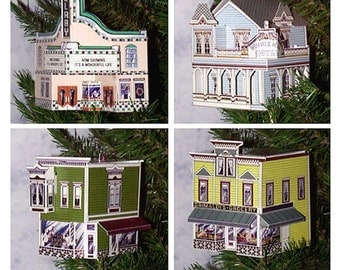 Victorian Town Buildings Pop-Up Ornament Greeting Cards / Set of 4