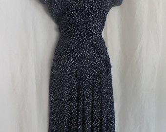 Vintage 80s womens dress, 40s style dress, navy blue white summer dress, short sleeve dress
