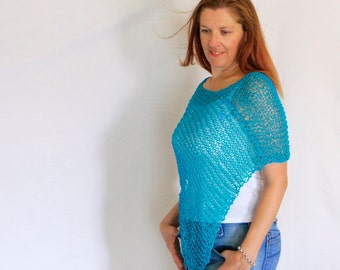 Turquoise poncho, summer poncho, turquoise wrap, beach cover up, boho beach wedding, loose knit poncho, Eudora, ready to ship