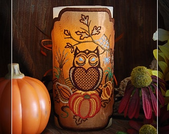 Autumn Harvest Owl Embroidered Candle Wrap For LED Flameless Pillar Candles.