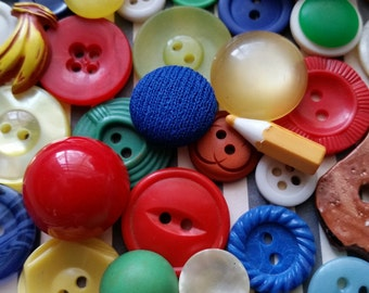 Antique and Vintage Button Lot No.419 | Bold, Bright, Primary Colors | Children's Buttons | Wooden, Bakelite, Ceramic
