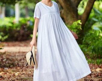 Off White Linen Dress Maxi Dress Loose Fitting Dress Plus