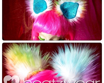 Disco kitty ears light rainbow tie dye with silver lining