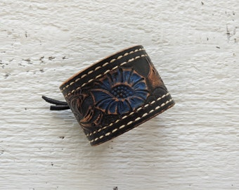 Black Tooled Leather Cuff/Blue Leather/Distressed Leather/Boho Cuff/Indie Jewelry/Painted Leather Jewelry/Cowgirl/Western Jewelry/Flower