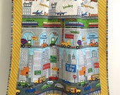 Baby Boy Quilt with Construction Vehicles Cars Trucks Planes Helicopters Blue Red Green Grey White Black