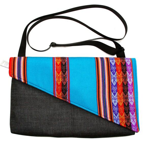 Bright turquoise, blue, Peruvian textile, Messenger bag, cross body bag