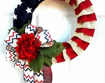 One Available - Patriotic Wreath - Summer Wreath - Mesh Wreath - Memorial Day - Independence Day - Red White and Blue