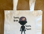 Tennis brain tennis heart Cotton Eco ReUse Library Bag