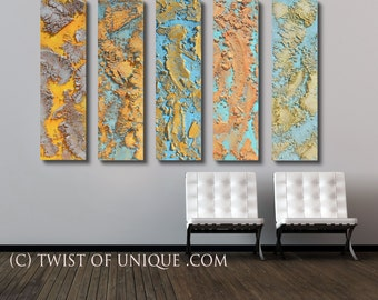 Rusted metal abstract / Oversized abstract painting/ CUSTOM/ Oversized set / 48 x 60/ Silver, yellow, Gold, blue, bronze, rust, pale gold