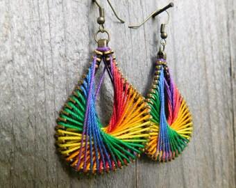 Steampunk Rainbow Earrings - Rainbow Zipper Earrings - Peruvian Thread Earrings - Dangle Earrings