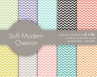 Soft Modern Chevron Digital Paper - Scrapbooking Papers, Zig Zag, Green, Modern, Black, Blue, Zigzag - Instant Download