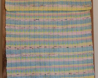 "Hand Woven Rag Rug - Pastel Striped Cotton 22"" x 26"""