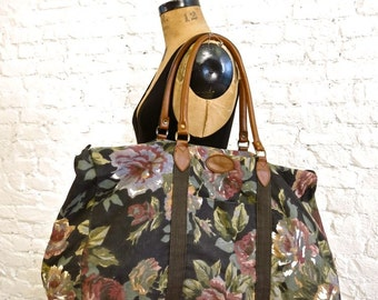 80s Floral Canvas Weekend Overnight  Bag
