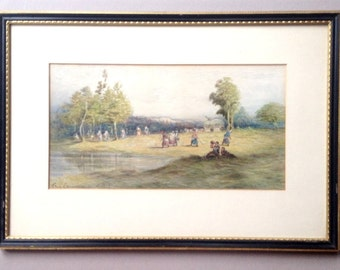 Henry Zimmermann RBA watercolour painting, 19th century art, Rural landscape, Harvest time, Farm workers in the field, crop harvesting