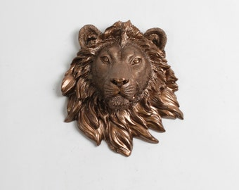 The Yoko - Bronze Mini Resin Lion Head - Resin Bronze Faux Taxidermy- Chic & Trendy White Faux Taxidermy - Home Decor Faux Animal Decor