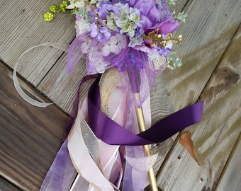 Lilac Purple Ivory Pom Wand Custom Order