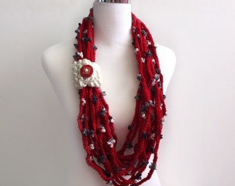 Red color hand crochet flower chain Infinity scarf - gift or for you