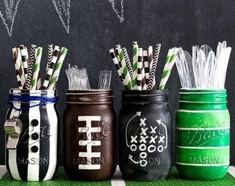 Football Mason Jars - Football Party Mason Jar Set - Painted & Distressed Mason Jars - Super Bowl Party