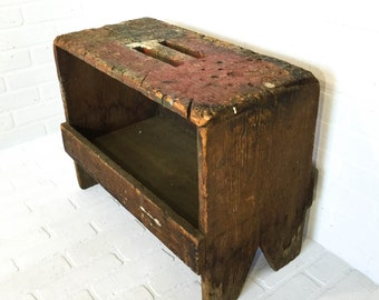 Vintage Primitive Tool Caddy Stool with Storage Handbuilt Mini Workbench Cobblers Bench